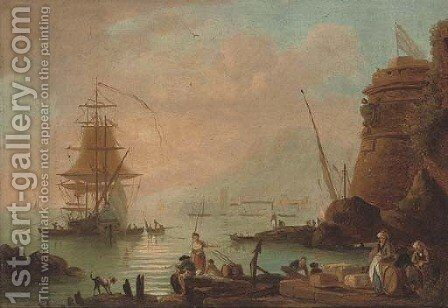 A coastal inlet with merchants on the shore and a ship beyond by (after) Claude-Joseph Vernet - Reproduction Oil Painting