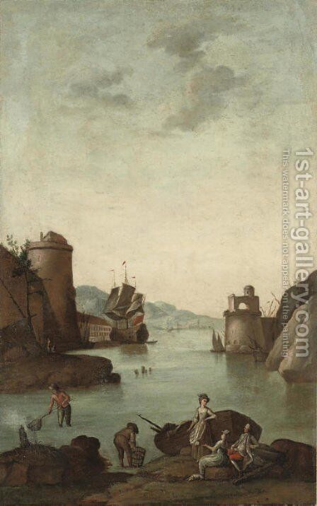 A Mediterranean coastal inlet with a fortified town, figures fishing in the foreground and a ship beyond; and A Mediterranean coastal inlet with a for by (after) Claude-Joseph Vernet - Reproduction Oil Painting