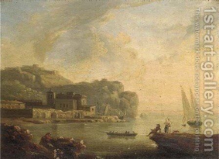 A Mediterranean coastal inlet with fisherfolk in a boat by (after) Claude-Joseph Vernet - Reproduction Oil Painting