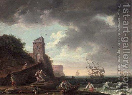A Mediterranean coastal inlet with fishermen and their catch, shipping beyond by (after) Claude-Joseph Vernet - Reproduction Oil Painting