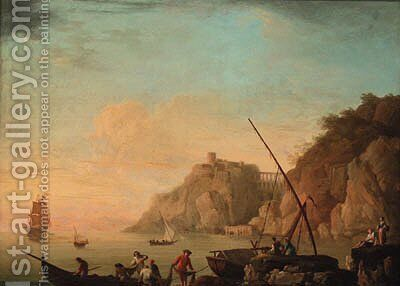 A Mediterranean coastline with fisherfolk on the shore 2 by (after) Claude-Joseph Vernet - Reproduction Oil Painting