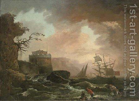 A Mediterranean coastline with shipping in rough seas and fishermen beneath a castle by (after) Claude-Joseph Vernet - Reproduction Oil Painting
