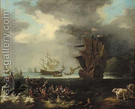An Arctic landscape with whalers in boats, and two polar bears on an ice floe, whaling ships at sea beyond by (after) Claude-Joseph Vernet - Reproduction Oil Painting
