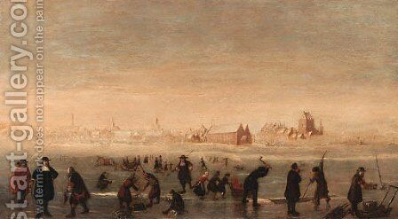 Kolfers, skaters and elegant townsfolk on a frozen waterway, a town beyond by (after) Cornelis Beelt - Reproduction Oil Painting