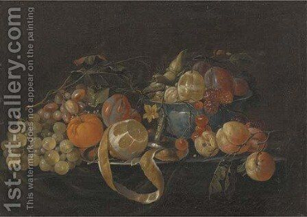 A partly-peeled lemon on a pewter plate by (after) Cornelis De Heem - Reproduction Oil Painting