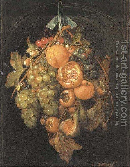 Oranges, grapes, cherries, a fig and other fruit hanging in a niche by (after) Cornelis De Heem - Reproduction Oil Painting
