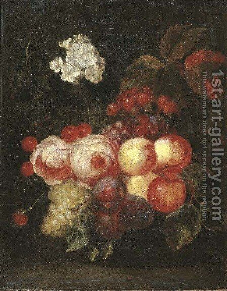 Roses, peaches, plums, bunches of grapes, cherries and flowers on a ledge by (after) Cornelis De Heem - Reproduction Oil Painting