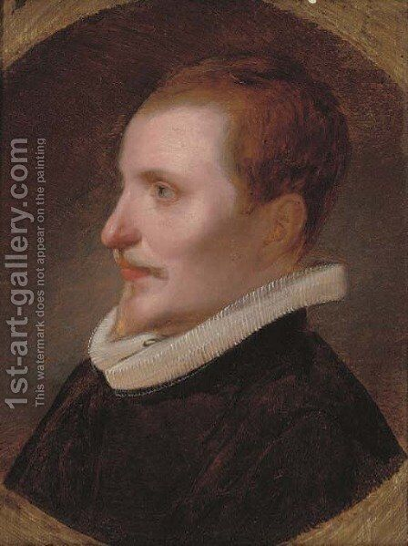 Portrait of a gentleman, bust-length, in a black coat and white ruff, painted circle by (after) Cornelis De Vos - Reproduction Oil Painting
