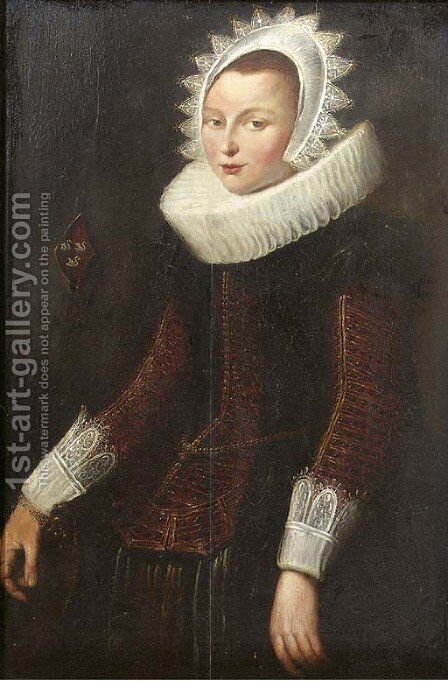 Portrait of a lady, standing three quarter length, wearing a gold embroidered red dress with molenkraag by (after) Cornelis De Vos - Reproduction Oil Painting