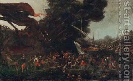 A naval battle between Turks and Christians by (after) Cornelis De Wael - Reproduction Oil Painting