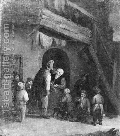 A hurdy-gurdy player accompanied by children by a farm by (after) Cornelis Dusart - Reproduction Oil Painting