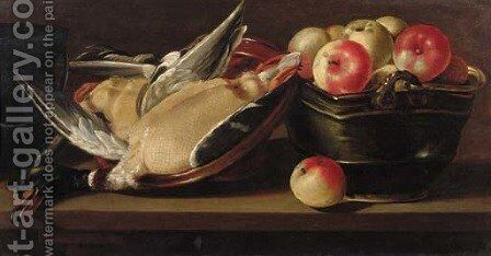 Apples in a basket with a dead duck in an earthenware bowl on a wooden ledge by (after) Cornelis Jacobsz. Delff - Reproduction Oil Painting
