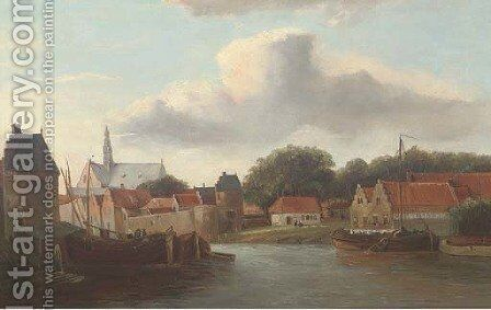 A Dutch river town with barges by (after) Cornelis Springer - Reproduction Oil Painting