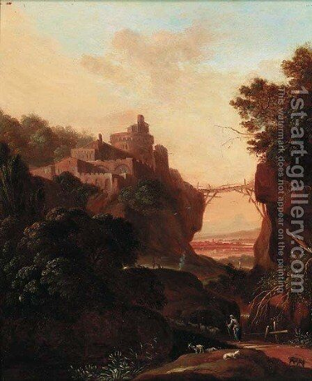 An extensive landscape with a clifftop town over a gorge; and An extensive landscape with figures resting by classical ruins by (after) Cornelis Van Poelenburch - Reproduction Oil Painting