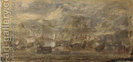 A small naval battle off the coast of a fortified town by (after) Cornelis Hendricksz. The Younger Vroom - Reproduction Oil Painting