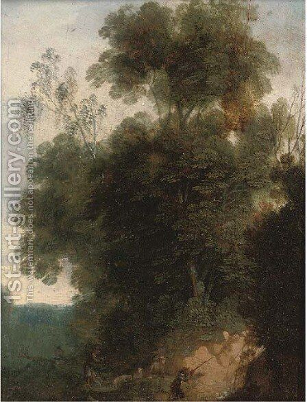 A wooded landscape with hunters and their dogs by (after) Cornelis Hendricksz. The Younger Vroom - Reproduction Oil Painting