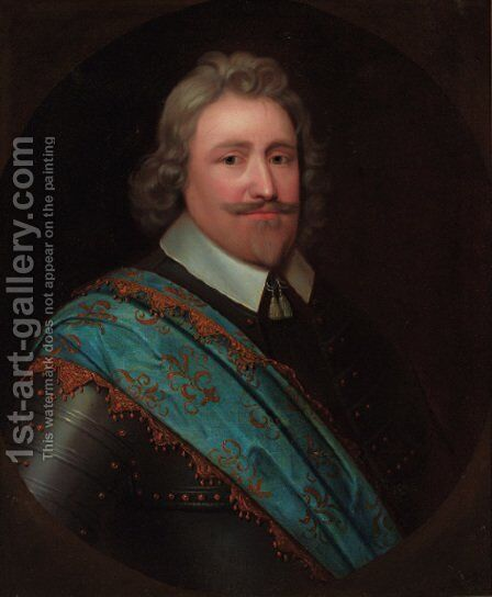 Portrait of a gentleman, bust-length, in armour and a blue sash, feigned oval by (after) Johnson, Cornelius I - Reproduction Oil Painting