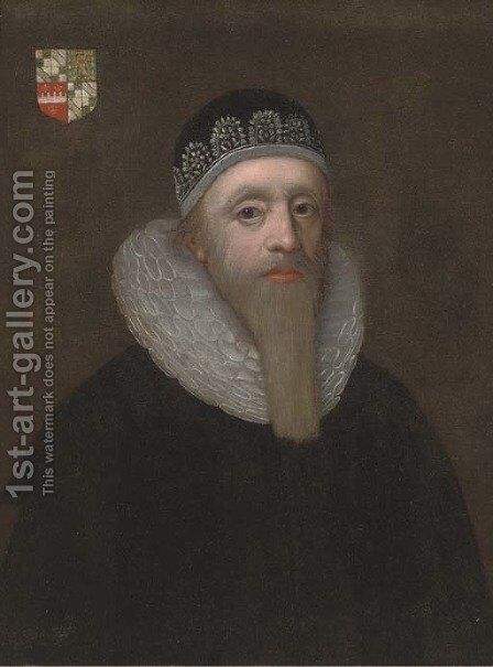 Portrait of a gentleman, half-length, in a black robe and white ruff by (after) Johnson, Cornelius I - Reproduction Oil Painting