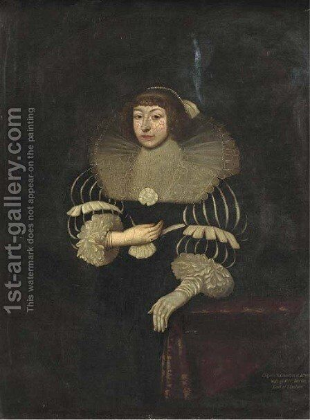 Portrait of Elizabeth, Countess of Lyndsey, three-quarter-length in a black and white dress and a lace ruff, a glove on her left hand by (after) Johnson, Cornelius I - Reproduction Oil Painting