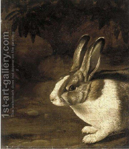 A rabbit in a rocky undergrowth by (after) David De Koninck - Reproduction Oil Painting
