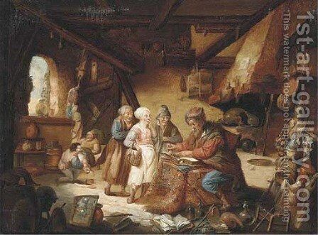 An alchemist in his workshop by (after) David Ryckaert III - Reproduction Oil Painting