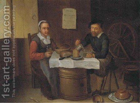 An elderly couple eating and drinking in a tavern by (after) David Ryckaert III - Reproduction Oil Painting