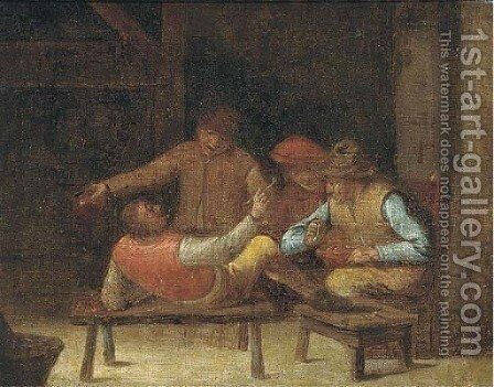 Figures jesting in an interior by (after) David The Younger Teniers - Reproduction Oil Painting
