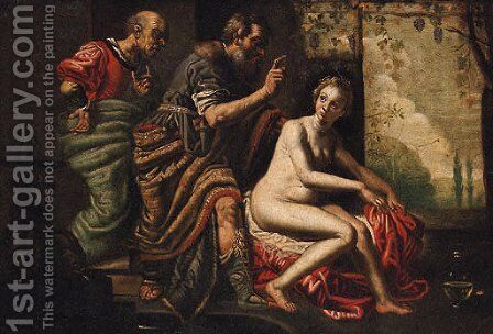 Susannah and the Elders by (after) David The Elder Teniers - Reproduction Oil Painting