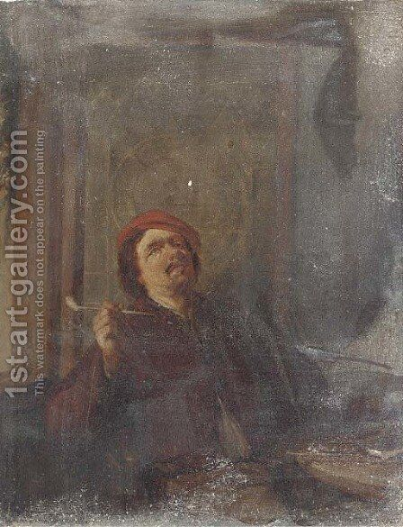 A boor smoking a pipe by (after) David The Younger Teniers - Reproduction Oil Painting