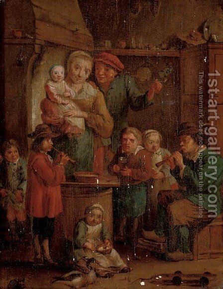 A family in a kitchen interior with two musicians by (after) David The Younger Teniers - Reproduction Oil Painting