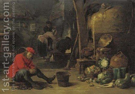 A kitchen interior with a man shucking mussels, and figures around a fire by (after) David The Younger Teniers - Reproduction Oil Painting