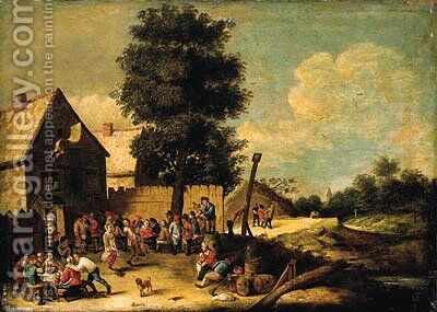 A peasant couple dancing to the music of a bagpiper, standing on a barrel, with other peasants merrymaking, ouside an inn by (after) David The Younger Teniers - Reproduction Oil Painting