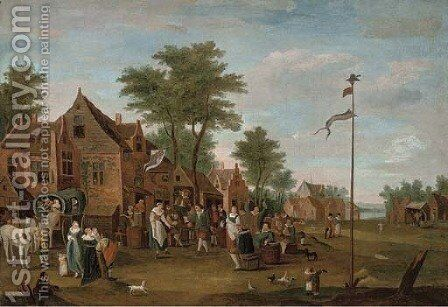 A river landscape with peasants merry-making outside an inn by (after) David The Younger Teniers - Reproduction Oil Painting