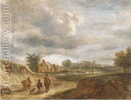 A river landscape with travellers on a track, a town beyond by (after) David The Younger Teniers - Reproduction Oil Painting