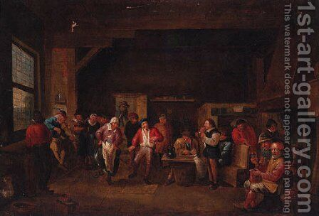 A village dance in an interior by (after) David The Younger Teniers - Reproduction Oil Painting