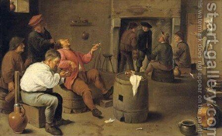 Boors smoking and drinking in an interior by (after) David The Younger Teniers - Reproduction Oil Painting