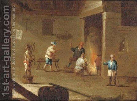 Figures in an interior smoking and drinking by a fire, with another figure playing the doodle-sack by (after) David The Younger Teniers - Reproduction Oil Painting