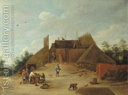 Peasants at work on a building site by (after) David The Younger Teniers - Reproduction Oil Painting