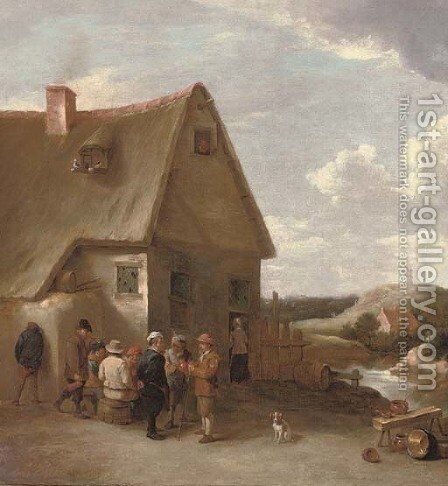 Peasants conversing by a cottage by (after) David The Younger Teniers - Reproduction Oil Painting