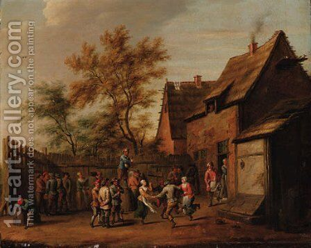 Peasants making merry in the courtyard of an inn by (after) David The Younger Teniers - Reproduction Oil Painting