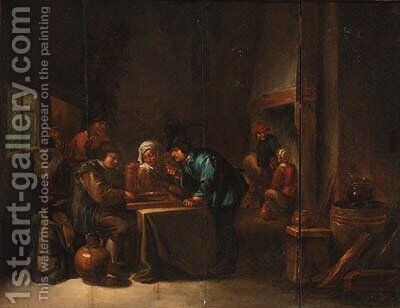 Peasants playing backgammon in an interior 2 by (after) David The Younger Teniers - Reproduction Oil Painting