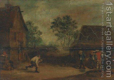 Peasants playing skittles outside an inn by (after) David The Younger Teniers - Reproduction Oil Painting