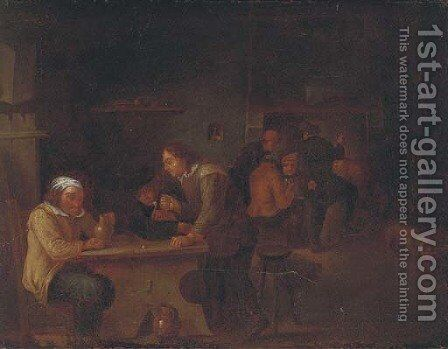 Peasants smoking and drinking in an interior by (after) David The Younger Teniers - Reproduction Oil Painting