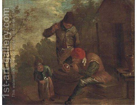 Peasants smoking and drinking outside a cottage by (after) David The Younger Teniers - Reproduction Oil Painting
