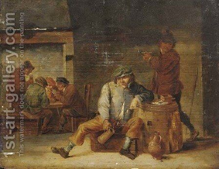 Pesants drinking and smoking in a tavern by (after) David The Younger Teniers - Reproduction Oil Painting