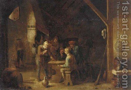 The interior of an inn with peasants smoking and conversing by a table by (after) David The Younger Teniers - Reproduction Oil Painting
