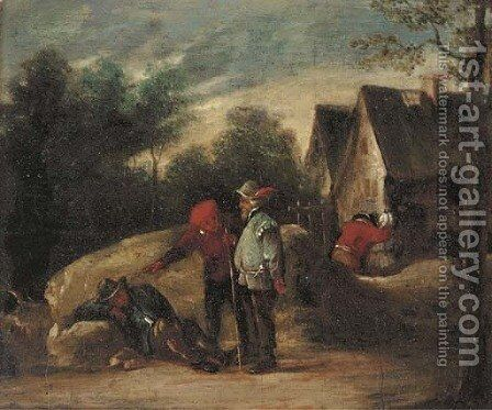Travellers at rest on a track by (after) David The Younger Teniers - Reproduction Oil Painting