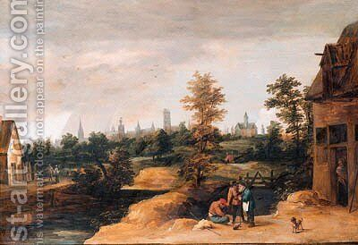 Travellers resting by a farmhouse, a town beyond by (after) David The Younger Teniers - Reproduction Oil Painting