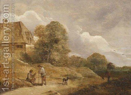 Travellers resting by a sandy track near a farm by (after) David The Younger Teniers - Reproduction Oil Painting