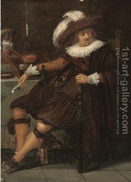 A cavalier a fragment by (after) Dirck Hals - Reproduction Oil Painting